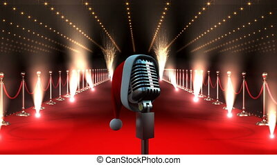 Microphone with flashing lights and red carpet and Santa hat