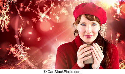 Red Winter woman drinking cup next to snowflakes