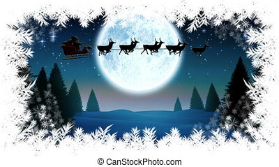Santa flying in sleigh with reindeer and Christmas tree border with Winter landscape