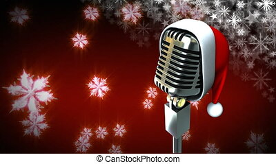 Santa hat on microphone with snowflakes - Digital composite ...