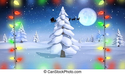 Santa in sleigh with reindeer flying with Christmas lights in Winter landscape