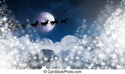 Santa in sleigh with reindeer flying with snowflakes and moon