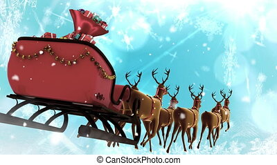 Santa in sleigh with reindeer flying with snowflakes