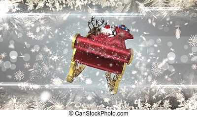 Santa in sleigh with reindeer with snowflakes
