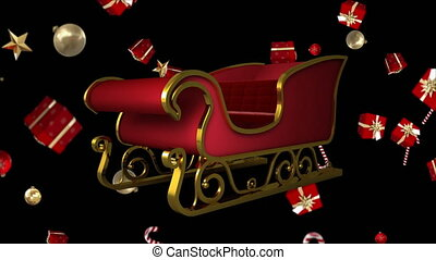Santa sleigh and falling Christmas gifts and candy - Digital...
