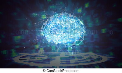 Science Composition Animated brain colored in blue and green