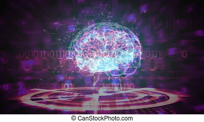 Science Composition Animated brain colored in purple and pink