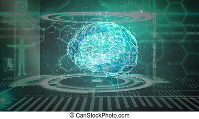 Science Composition Animated brain combined with illustrations colored in blue and gre