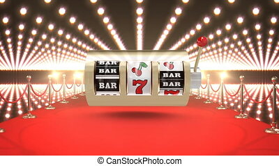Slot machine casino with flashing lights and red carpet