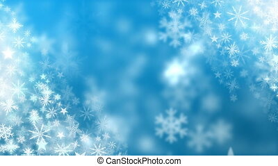 Snowflakes falling on blue background