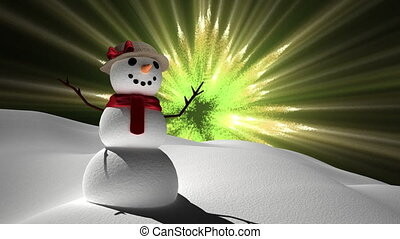 Snowman with magical lights