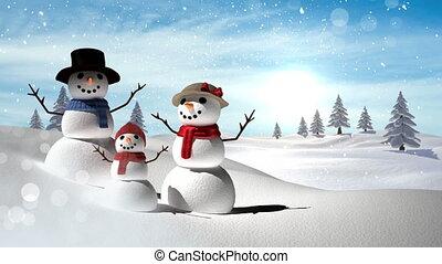 Snowmen family with Christmas Winter landscape