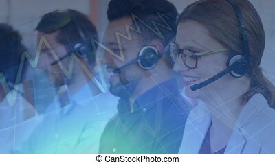 Digital composite of team of customer service executives working at desk