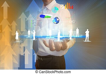 Digital composite of usinessman presenting interface with...