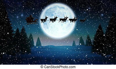 Video composition with falling snow over animation of santa in sleigh at winter scenery with full