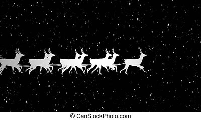 Video composition with falling snow over animation of santa ...