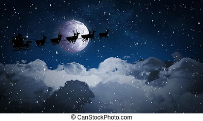 Video composition with falling snow over santa sleigh over ...