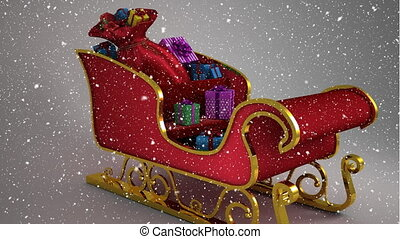 Video composition with snow over 3d santas sleigh - Digital ...