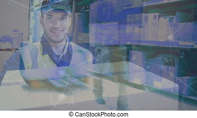 Warehouse Composition of Picture of delivery man and picture of a warehouse combined with an