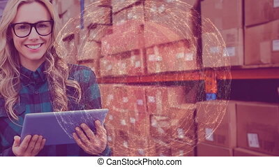 Warehouse Composition Woman in the warehouse combined with animation of connected world