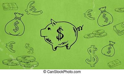 Digital composite sketch of a piggy bank and coins