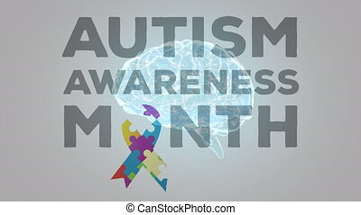 Autism Awareness Month text over digital brain spinning - ...