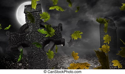 Digital Composite video of autumn leaves moving against ...