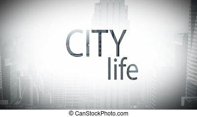 Digital composite video of city life concept