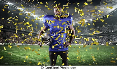 Confetti falling over male rugby player