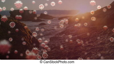 Digital composite video of Covid-19 cells moving against sea...