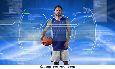Digital composite video of data processing and Scope scanning over male basketball player holding a basketball against blue background