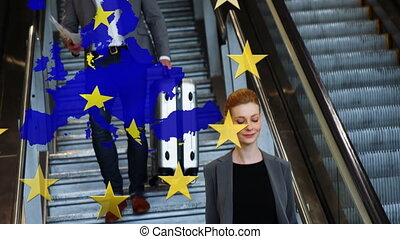 Animation of an EU map with EU flag over Caucasian woman using escalator. Coronavirus Covid-19 pandemic concept digital composition