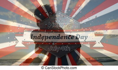 Digital composite video of happy independence day july 4th text against man carrying woman