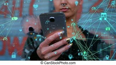 Digital composite video of network of connection with interface icons against woman using smartphone