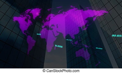 Digital composite video of numbers moving on World map against tall buildings in background. Global networking and business concept