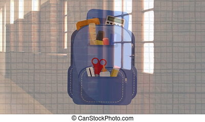 Digital composite video of School bag pack  icon against school corridor. Education and school concept