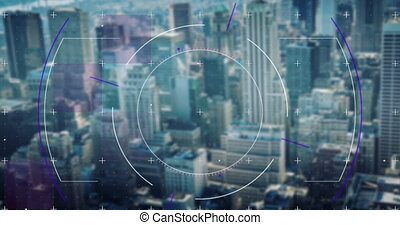 Digital composite video of scope scanning over cityscape. global networking and computer interface technology concept
