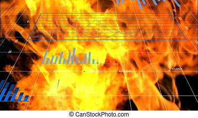 Digital Composite video of statistics charts against fire ...