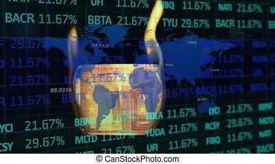 Digital Composite video of stock exchange data processing ...
