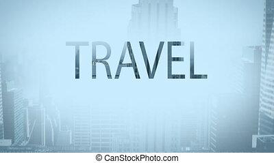 Digital composite video of travel concept
