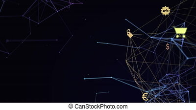 Digital composite video of web of connections with icons ...