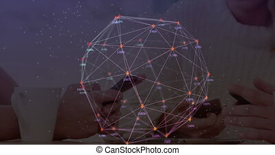 Digital composite video of web of connections with numbers ...