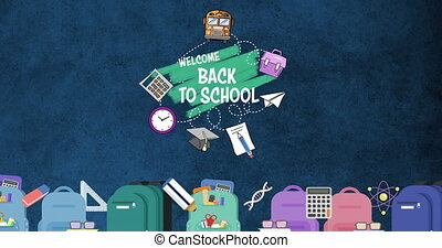 Digital composite video of welcome back to school text and school equipments icons