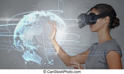 Digital composite video of woman using virtual reality headset 4k