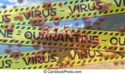 Digital composite video of yellow police tapes with Virus ...