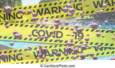 Digital composite video of yellow police tapes with Warning ...