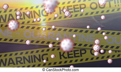 Digital composite video of yellow police tapes with words ...