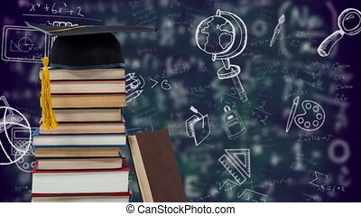 Digital composition of graduations hat on stack of books against school icons and mathematical equations on blue background. school and education concept