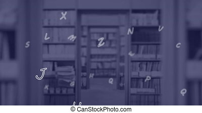 Digital composition of multiple english language alphabets floating against school library. school and education concept.