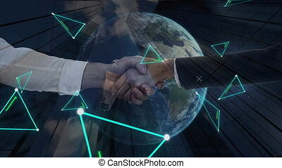 Digital composition of neon triangle shapes over business people shaking hands over globe against tall buildings and spinning globe. global finances and business concept